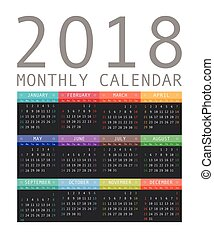 Calendar 2018 year simple style.