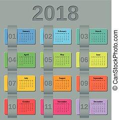 Calendar 2018 year. Vector colorful template.