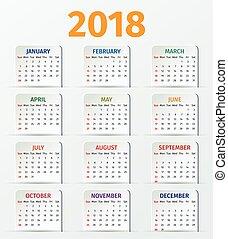 Calendar 2018 year. Vector template.