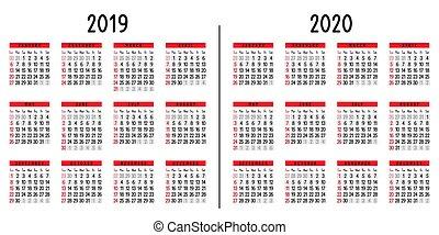 Calendario 2019 2020.Calendar 2019 And 2020 Year Colorful Set Simple Vector Template