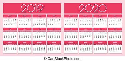 Calendario Rosa 2020.Spiral Desk Calendar Year 2019 2020 With Pink Piggy Desk