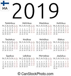 Calendar 2019, Finnish, Monday - Simple annual 2019 year...