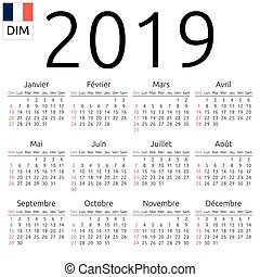 Calendar 2019, French, Sunday - Simple annual 2019 year wall...