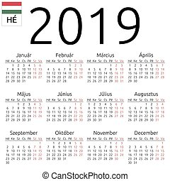 Calendar 2019, Hungarian, Monday - Simple annual 2019 year ...