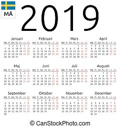 Calendar 2019, turkish, monday. Simple annual 2019 year wall ...