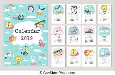 Calendar 2019 with cute forest animals. Hand drawn vector