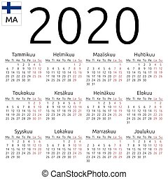 Calendar 2020, Finnish, Monday - Simple annual 2020 year...