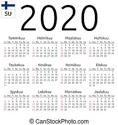 Calendar 2020, Finnish, Sunday - Simple annual 2020 year...