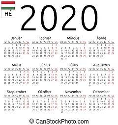 Calendar 2020, Hungarian, Monday - Simple annual 2020 year...