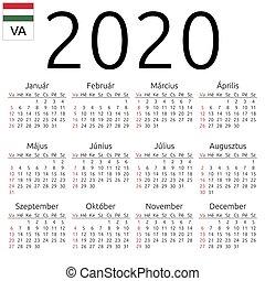 Calendar 2020, Hungarian, Sunday - Simple annual 2020 year...