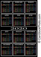 CALENDAR 2020 ON BLACK BACKGROUND COLORS FOR EACH WEEKDAY