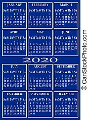 CALENDAR 2020 ON BLUE BACKGROUND COLORS FOR EACH WEEKDAY