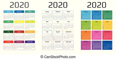 Calendar 2020 template. 12 Months include holiday event