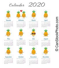 Calendar 2020 with pineapple cartoon characters