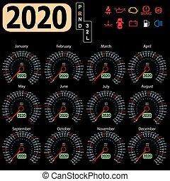 Calendar 2020 year from the car dashboard speedometer