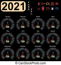 Calendar 2021 year from the car dashboard speedometer