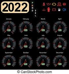 Calendar 2022 year from the car dashboard speedometer