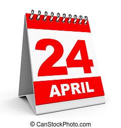 Calendar. 24 April. - Calendar on white background. 24...