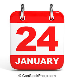 Calendar. 24 January. - Calendar on white background. 24 ...
