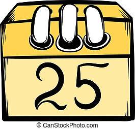 Calendar 25 number  icon cartoon