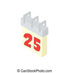 Calendar 25th icon, cartoon style