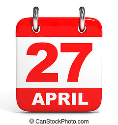 Calendar. 27 April. - Calendar on white background. 27...