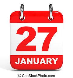 Calendar. 27 January. - Calendar on white background. 27...