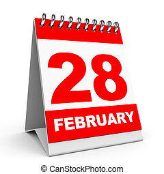 Calendar on white background. 28 February. 3D illustration.