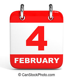 Calendar. 4 February. - Calendar on white background. 4 ...