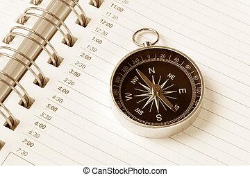 Calendar agenda and compass
