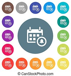 Calendar alarm flat white icons on round color backgrounds
