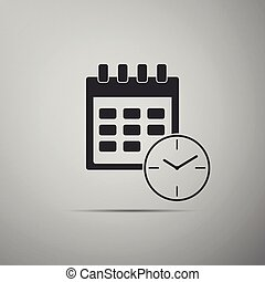 Calendar and clock icon isolated on grey background. ...