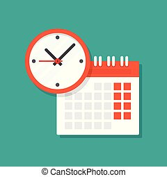 calendar and clock icon. Schedule, appointment, on white ...