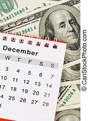 Calendar and dollar, December
