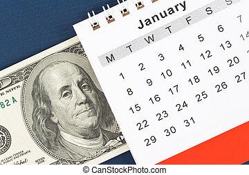 Calendar and dollar, January, New Year