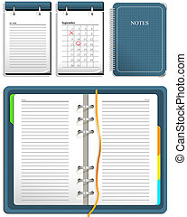Calendar and notebook - open and closed