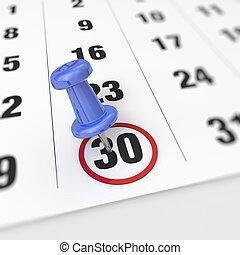 Calendar and pushpin - Calendar and blue pushpin. Mark on...