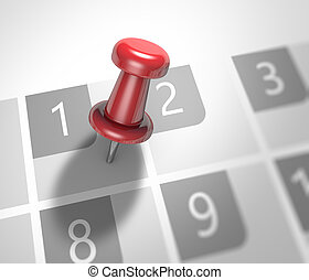 Calendar and pushpin - Calendar and red pushpin. Mark on the...