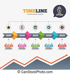 Timeline infographic with arrows. Calendar and Star favorite icons. Checklist and cogwheel gear sign symbols. Five options with hand. Growth chart. Vector