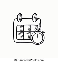 Calendar and stopwatch sketch icon.