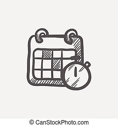 Calendar and stopwatch sketch icon