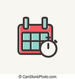 Calendar and stopwatch thin line icon - Calendar and...