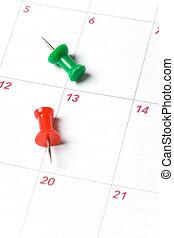 Calendar and Thumbtack close up shot for background