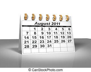 calendar., août, 2011., bureau