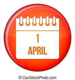 Calendar April 1 icon, flat style