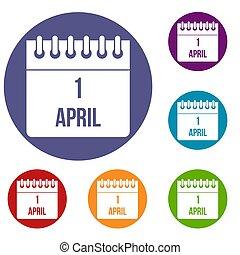 Calendar April 1 icons set
