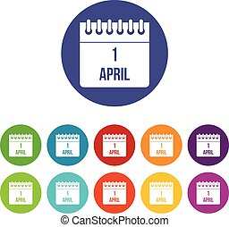 Calendar April 1 set icons