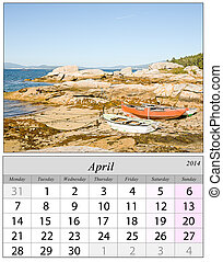 Calendar April 2014. Boats in Galicia, Spain.