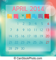 Calendar April 2014, Flat style background, vector illustration