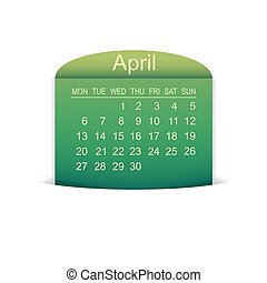 Calendar April 2015. Vector illustration. Design element.